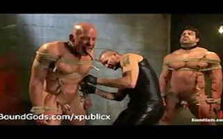 bare tied homosexuals clamped and flogged in group