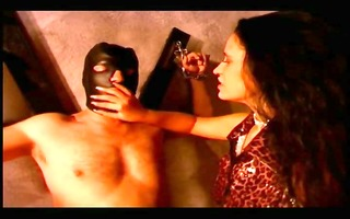 sexy dominatrix-bitch fucking her serf in his butt