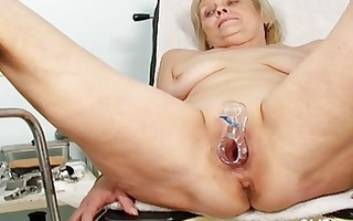 immodest golden-haired granny acquires her wet