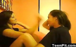 teen lesbian babes giving a kiss
