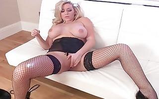 stylish milf sweetheart masturbating in darksome