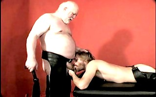 white bearded bear daddy and his leather chap