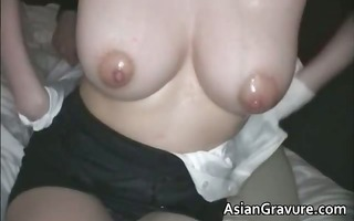 excellent brunette hair oriental hoe with great