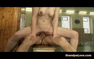 horny old man fucking her student and giving her