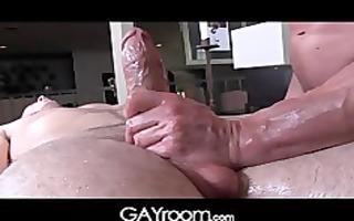 gayroom aged masseur rubs and probes large shlong