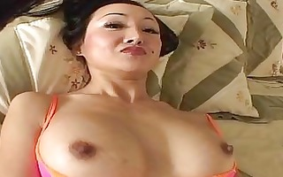 darksome haired oriental angel with valuable