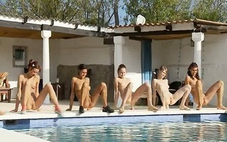 six exposed angels by the pool from italia