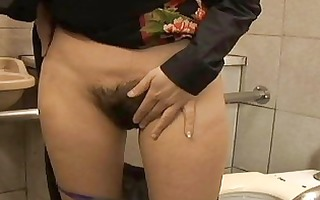 dark haired oriental chick with unshaved bawdy
