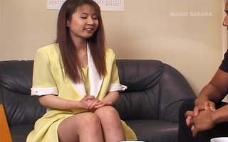 cute, bashful asian receives sluggishly turned on