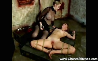 fastened wench getting slapped by her slaver