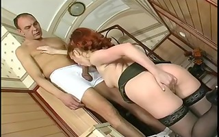 hot redhaired mature banging in stockings and