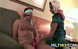 married pair having enjoyment with silk