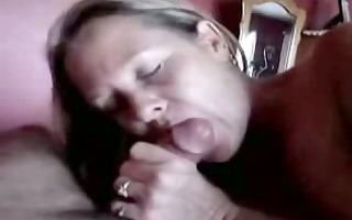 aged lady gives an experienced oral-service