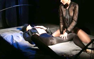blindfolded woman acquires fuck by thong on
