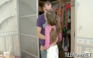 legal age teenager in a hot threesome pleasure