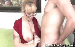hot blond mother i in spex pulls knob and can get