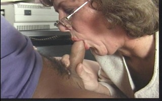 secretary a-hole takes in pony tailed chaps cum