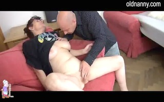 excited granny and younger stud having hot oral