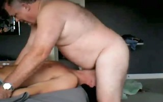 youthful sub deepthroats large slavemaster dad