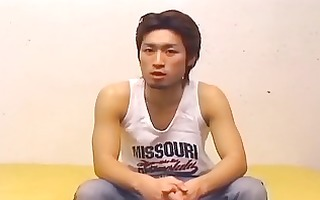 hawt oriental homosexual lad undresses and