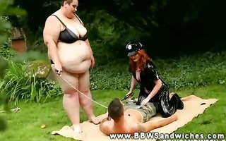 ginger big beautiful woman licks sub whilst her