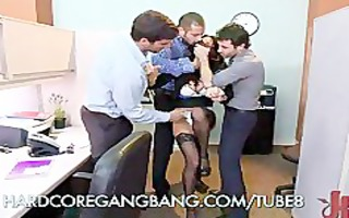 hawt office wench acquires group-fucked