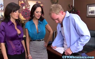 breasty cfnm sweethearts undress guy stripped