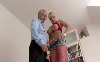 breasty whore screws old cock