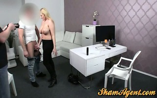 bulky blond milf drilled in office and creamed