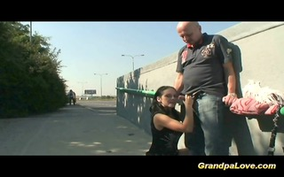 grand-dad fucking a worthwhile dark brown babe