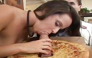 hawt brunette hair momma gets pizza with one