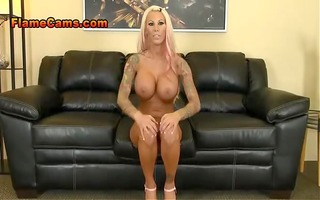 hot, fit golden-haired mother i with tats fingers