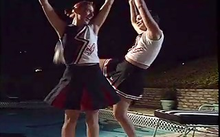 lesbian cheerleaders munch snatch by the pool