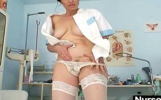 breasty aged lady barbora widens unshaved fur pie