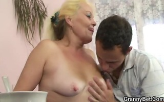blonde granny receives her curly love tunnel