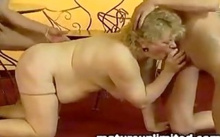 very old vintage granny receive threesome