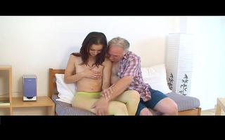 small tittted hotty receives fucked by grand-dad