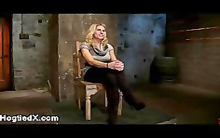 bound up large boobs golden-haired on her knees