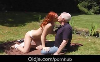 white haired oldman profess sex to burning