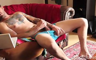 tattooed str guy dane masturbating