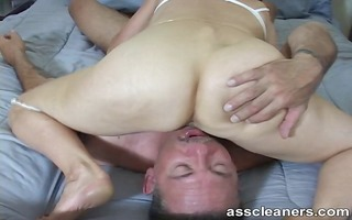 stud cleans the domina booty gap for a blow job