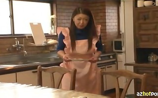 older asian woman wearing no pants