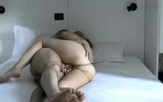 aged pair fuck on white daybed
