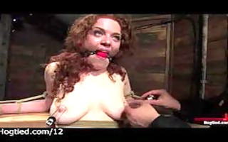 hogtied and stretched redhead toyed and flogged