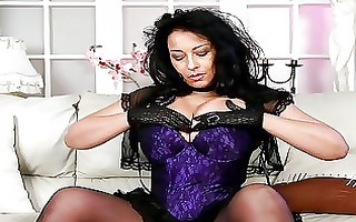 hawt brunette hair with huge bazongas in corset