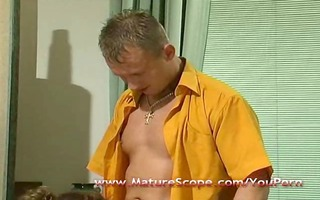 aged housemate drilled by horny chap