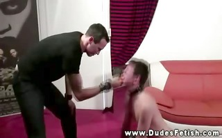 nasty juvenile guy getting spanked by his slaver