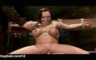 bound up honey with clamped tongue receives her