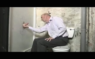old chap engulfing hung pounder at gloryhole