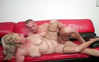 breasty chubby grandma having sex with youthful